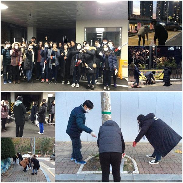 복지관 및 안산시민시장 주변 사회공헌(청소)활동 사진