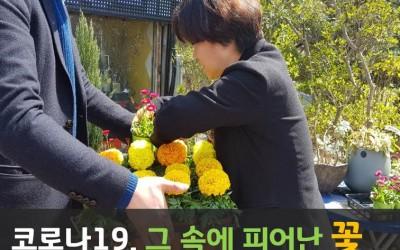 남자 한명이 여러개의 꽃 화분을 하나의 판에 담아 들고 있고 오른쪽에서 여자 한 명이 화분을 더 담아 주는 모습 글-코로나19, 그 속에서 피어난 꽃, 잃어버린 봄을 선물하다.